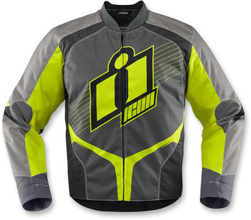 Blouson Cuir ICON 2015 Overlord Jaune Vert Fluo
