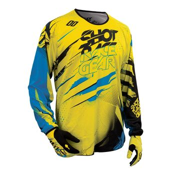Maillot cross SHOT 2016 Devo Capture NEON JAUNE/BLEU