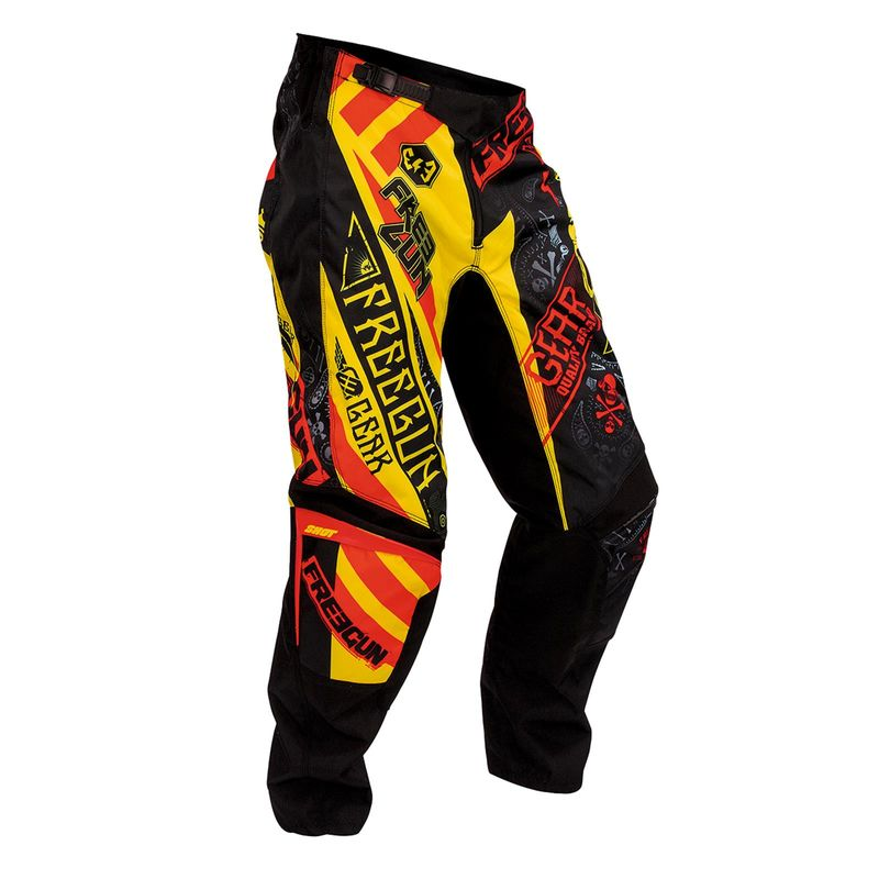 pantalon cross freegun by shot 2016 devo bandana jaune rouge 3as racing. Black Bedroom Furniture Sets. Home Design Ideas