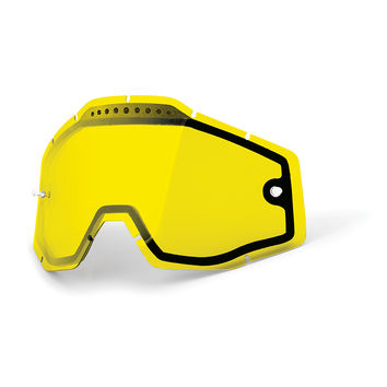 Ecran 100% Jaune double ventilé pour Masque cross Racecraft, Accuri, Strata