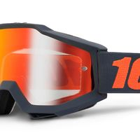 Masque cross 100% Accuri Gun Métal Noir Orange - Ecran Iridium Rouge