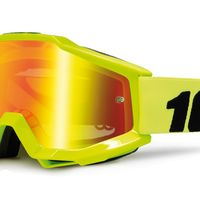 Masque cross 100% Accuri Jaune Fluo - Ecran Iridium Rouge