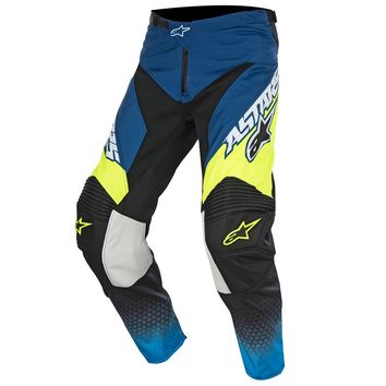 Pantalon Cross Alpinestars 2017 Racer Supermatic Bleu Cyan Jaune Fluo