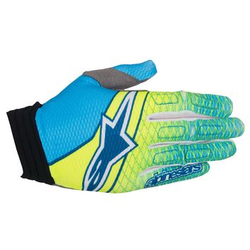 Gants Cross Alpinestars 2017 Aviator Jaune Fluo Bleu Cyan