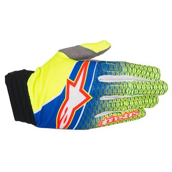 Gants Cross Alpinestars 2017 Aviator Bleu Jaune Fluo Rouge