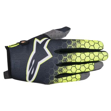 Gants Cross Alpinestars 2017 Radar Flight Anthracite Jaune Fluo Gris