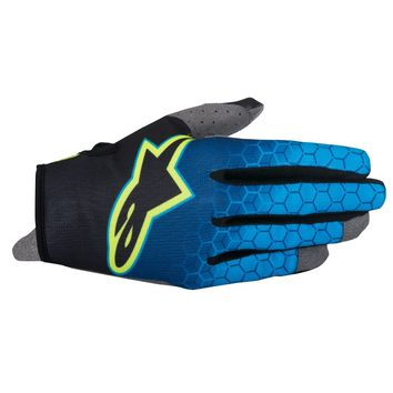 Gants Cross Alpinestars 2017 Radar Flight Bleu Cyan Jaune Fluo