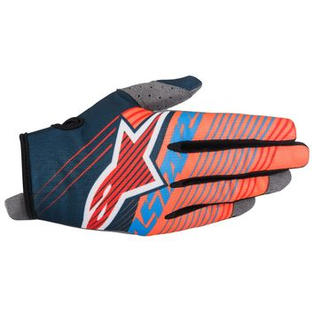 Gants Cross Alpinestars 2017 Radar Tracker Bleu Pétrole Orange Fluo