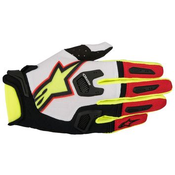 Gants Cross Alpinestars 2017 Racefend Blanc Rouge Jaune Fluo