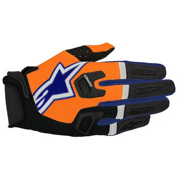 Gants Cross Alpinestars 2017 Racefend Orange Fluo Bleu Blanc