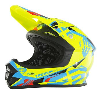 Casque cross Freegun 2017 XP-4 Link Jaune/Bleu