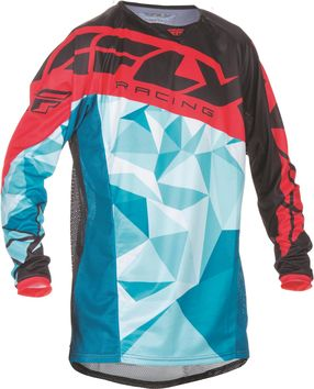 Maillot Cross 2017 Fly Kinetic Crux Turquoise/Rouge