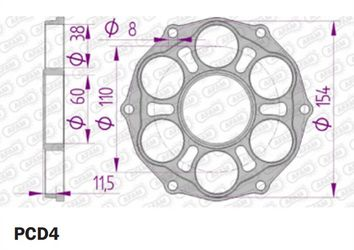 Support Couronne AFAM Ducati PCD4