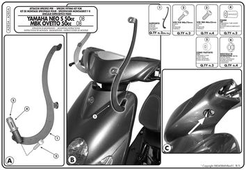 Kit Montage 105A / 128A pour MBK Ovetto 50 2008-2014 Yamaha Neo´s 50 2008-2016