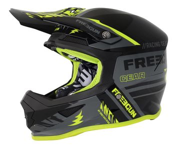 Casque cross Freegun 2018 XP-4 Nerve - Gris Jaune Fluo