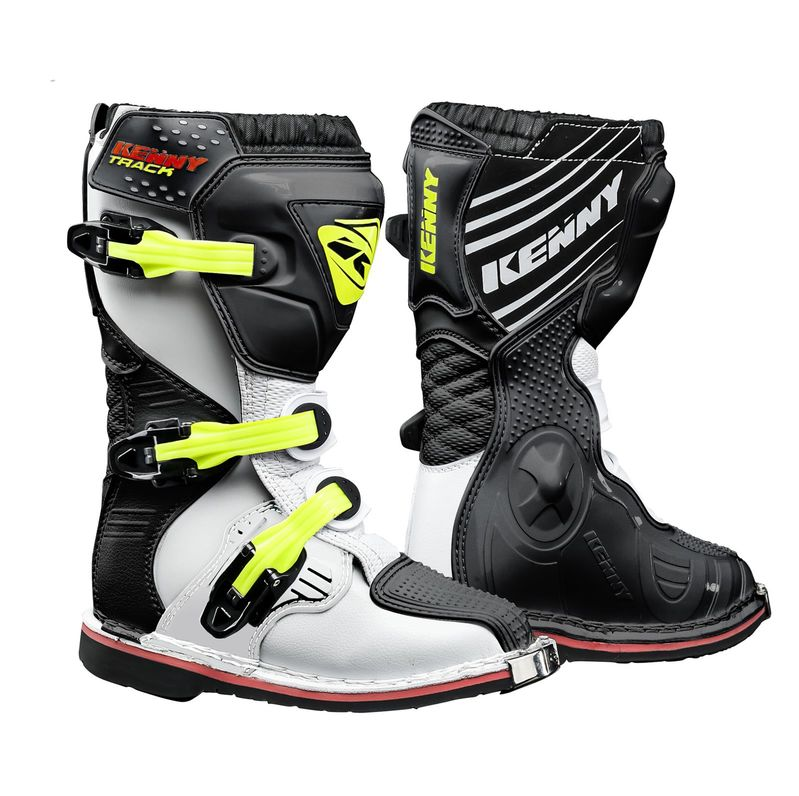 bottes cross enfant kenny track blanc noir jaune fluo 3as racing. Black Bedroom Furniture Sets. Home Design Ideas