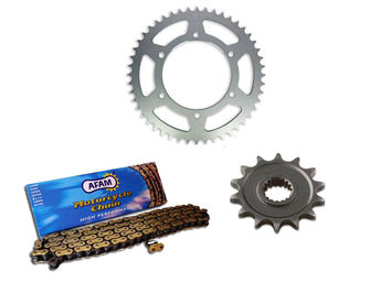 Kit Chaine AFAM Acier Origine AJP PR4 125 Supermoto 2004-2015 16/48 dents