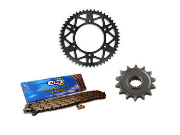 Kit Chaine AFAM alu AJP 125/200 PR4 Enduro 2004-11 13/44 dents