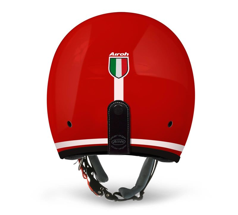Casque Jet Route Airoh 2018 Six Days Trophy Rouge Brillant 3as
