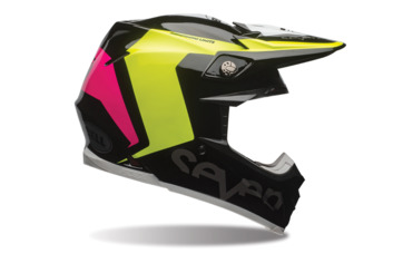Casque cross BELL MOTO 9 Carbon Flex Seven Rogue - Jaune Fluo 53/54 - XS