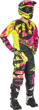 Tenue Cross 2018 Fly Racing Kinetic Outlaw - Rose Jaune Fluo