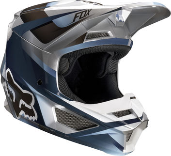 Casque cross enfant Fox 2019 V1 Motif - Bleu Gris