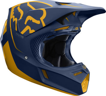 Casque cross Fox 2019 V3 Kila - Bleu Jaune
