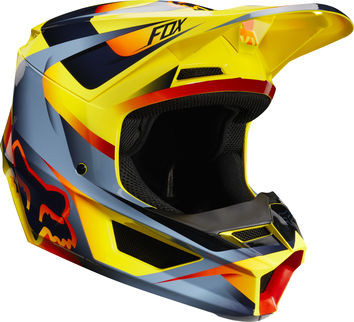 Casque cross Fox 2019 V1 Motif - Jaune