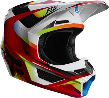 Casque cross Fox 2019 V1 Motif - Rouge Blanc