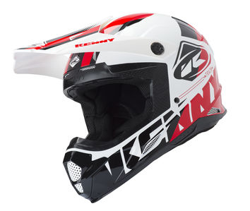 Casque cross Kenny 2019 Track - Blanc Noir Rouge