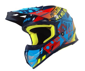 Casque cross enfant Pull-In by Kenny 2019 Trash - Bleu Cyan Rouge