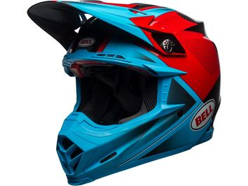 Casque cross Bell Moto-9 Flex Hound - Bleu Cyan Rouge