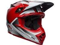 Casque cross Bell Moto-9 Flex Hound - Rouge Blanc Noir Mat / Brillant