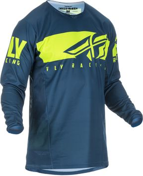 Maillot cross Fly Racing 2019 Kinectic Shield - Bleu Jaune Fluo