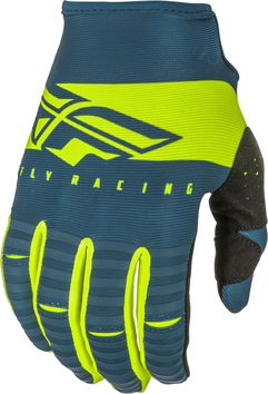 Gants cross Fly Racing 2019 Kinetic Shield - Bleu Jaune Fluo