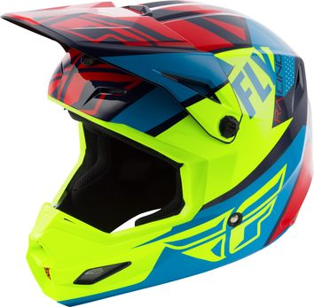 Casque cross enfant Fly Racing 2019 Elite Guild - Rouge Bleu Jaune Fluo