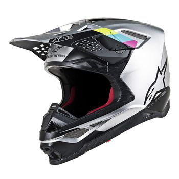 Casque cross Alpinestars Supertech M8 Contact - Argent Noir