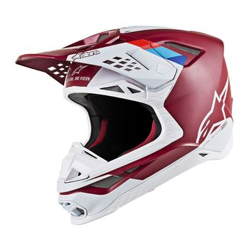 Casque cross Alpinestars Supertech M8 Contact - Rouge Blanc
