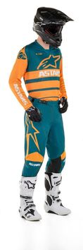 Tenue cross 2020 Alpinestars Racer Supermatic - Orange Bleu Pétrole