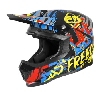 Casque cross enfant Freegun by Shot 2020 XP-4 Maniac - Noir Jaune Rouge Bleu