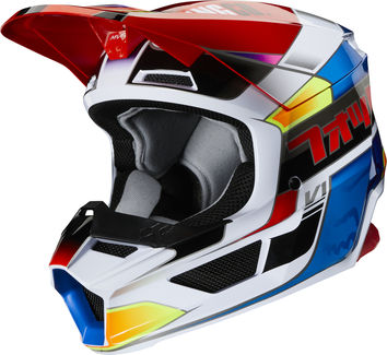 Casque cross enfant Fox 2020 V1 YORR - Bleu Rouge