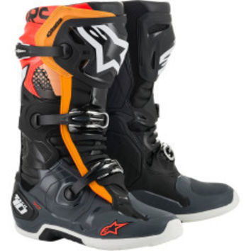 Bottes cross Alpinestars 2020 Tech 10 - Noir Gris Orange Rouge Fluo