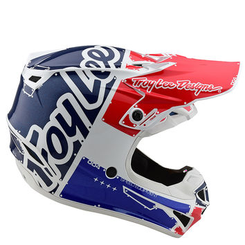 Casque cross enfant Troy Lee Designs 2020 SE4 Polyacrylite Factory - Blanc Bleu