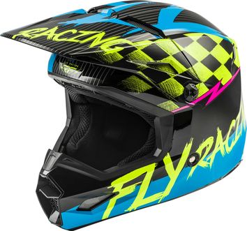 Casque cross enfant Fly Racing 2020 Kinetic Sketch - Bleu Jaune Noir Rose