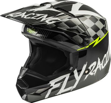 Casque cross enfant Fly Racing 2020 Kinetic Sketch - Noir Blanc Jaune Fluo Mat