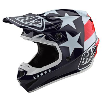 Casque cross Troy Lee Designs 2020 SE4 Polyacrylite Freedom - Rouge Blanc