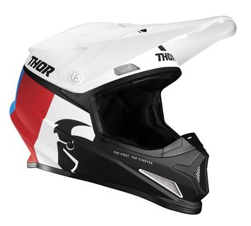 Casque cross Thor 2021 Sector Racer - Blanc Rouge Bleu