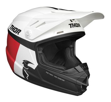 Casque cross enfant Thor 2021 Sector Racer - Blanc Bleu Rouge