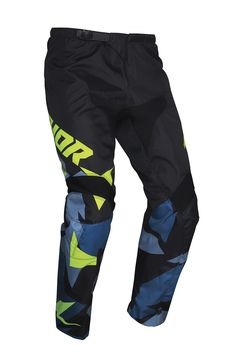 Pantalon cross enfant Thor 2021 Sector Wharship - Bleu Jaune Acid