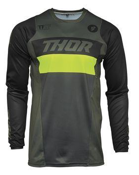 Maillot cross Thor 2021 Pulse Racer - Kaki Army Jaune Acid